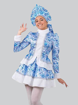 костюм снегурочки гжель короткий