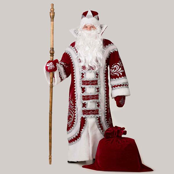 Купеческий костюм деда мороза в бордовом цвете