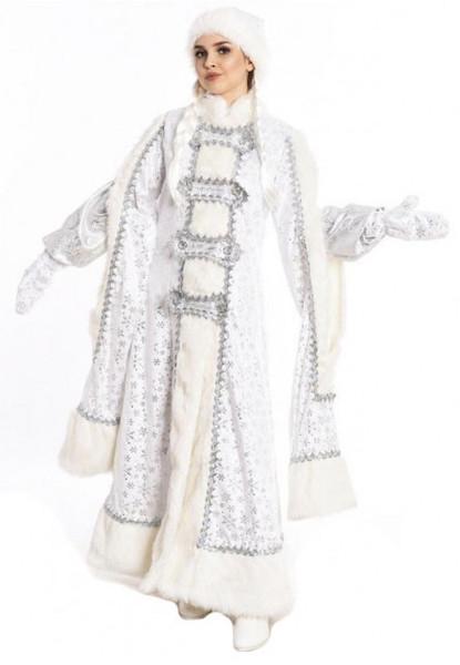 Боярский белый костюм снегурочки