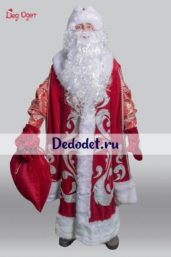 богатый костюм деда мороза вид спереди