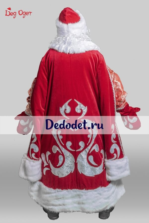 богатый костюм деда мороза вид сзади