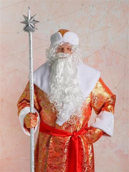 Золотой Дед Мороз с посохом