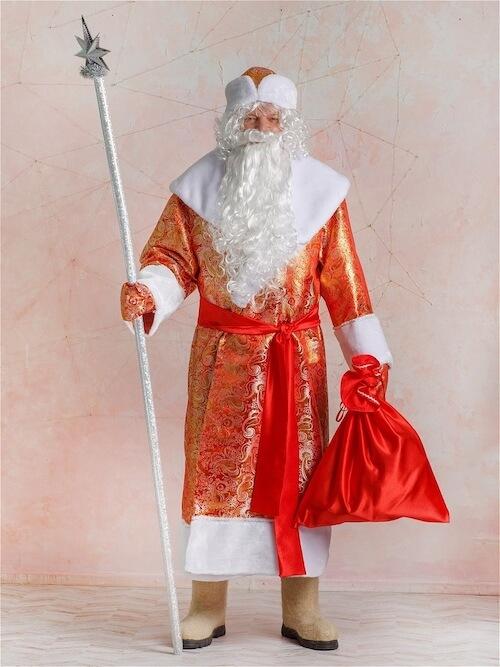 Золотой костюм Деда Мороза вид спереди